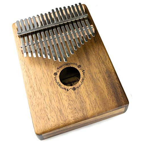 Piano de pulgar Kalimba Martin Smith de 17 teclas con notas grabadas, estuche protector y martillo de afinación