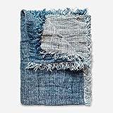 Doubleface Plaid - Colcha (lino, 140 x 200 cm), color azul