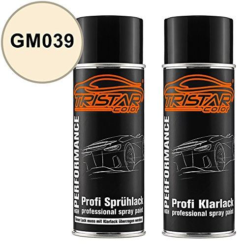 TRISTARcolor Autolack Spraydosen Set für Gen. Motors/Hummer/Oldsmobile/Pontiac/Saturn GM039 Moon Beam White Basislack Klarlack Sprühdose 400ml