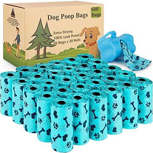 Tonsooze Sacchetti igienici per cani, 600 pezzi/30 Rotoli Sacchetti per Escrementi per Cani Dog Poop Dog Sacchetti di rifiuti con Dispensers, Extra Spesso a Prova di perdite Dog Poo Bags