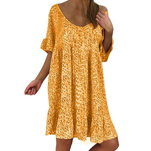 Damen Kleider Sommer O Ausschnitt Hlaf Ärmel Sexy Strandkleid Jeanskleid Kleid Großer Größe Kleid Polyester Bohemien Bedruckt Partykleid Minikleid (EU:44, Orange)