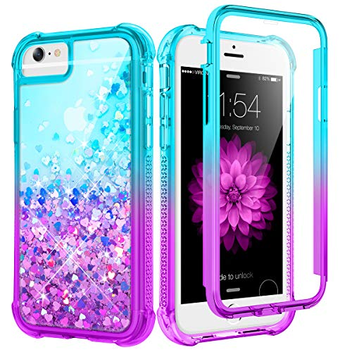 Caka Case for iPhone 6 6S 7 8 SE 2020 Glitter for Girls Women Full Body with Built in Screen Protector Heavy Duty Liquid Love Gradient Case for iPhone 6 6S 7 8 SE 2020 4.7 inch (Teal Purple)