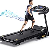 DR.GYMlee Folding 3 Manual Incline 280LB Weight-Capacity Smart Treadmill, Easy Assembly Electric Motorized Running Machine for Home Use with LCD Screen/Heart Rate Monitor/Phone Cup Holder (T600)