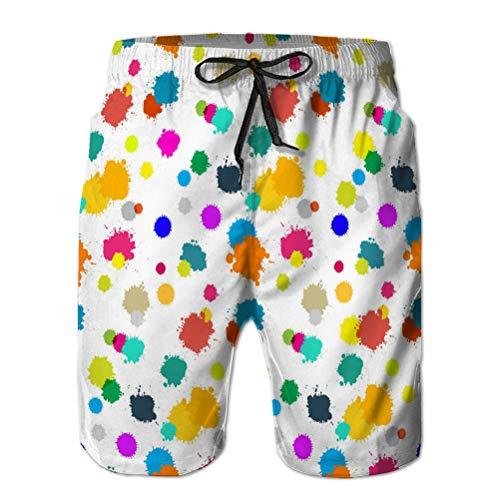 Swim Trunks Shorts de Playa para Hombre Pantalones Cortos de poliéster Casuales Patrón de Salpicaduras de Colores sin Costuras en Blanco