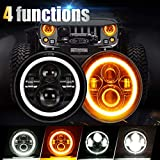SUPAREE 7 inches LED Jeep Headlights with White Halo Ring Angel Eyes &...