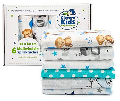 Clevere Kids Mulltücher | 6er-Pack Geschenkset | bedruckt | OEKO-TEX | doppelt gewebt | 70x80 | Spucktücher (Jungs)