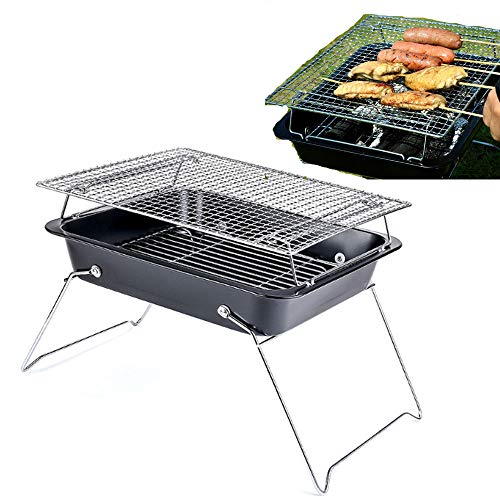 Folding Grill, Charcoal BBQ, Small And Light, Suitable For 3-5 People, Stable Bracket, Rounded Edges Do Not Hurt Your Hands, Sunken Carbon Slot