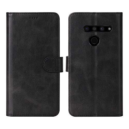 Eastcoo LG V50 ThinQ Geldbörse Tasche,Magnetic Flip Folio Cover Kickstand Card Slots Bumper PU Leder TPU Slim Shockproof Anti Scratch Hülle für Google LG V50 ThinQ Smartphone,Schwarz