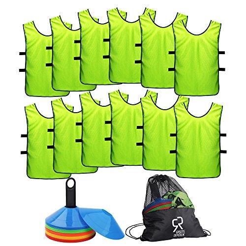 Fußball Markierungshütchen Set (50 Stück) Sport Trikot Leibchen (12er Pack) - Markierungsteller für Basketball Training, Komplettes Fußballtraining Equipment - Trainingskegel für Fußball Übungen