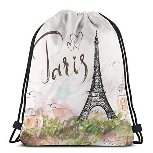 Bolsa de Deporte Mochila con cordón Gympack String Eiffel Tower Painting Hombres y Mujeres viajan Mochilas de Compras de Fitness