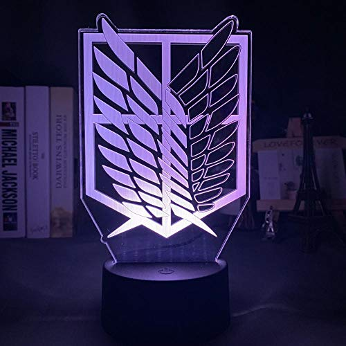 3D Illusion Lamp Led Night LightThe wings of freedom attack the Titan7 Color Changing Desk Lamp Art Home Kid Bedroom Sleeping Decor Holiday Party Gifts-16 colors remote