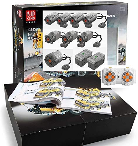 Foxcm Technik Kran LKW, Technic Mobiler Schwerlastkran, Bauset mit Fernbedienung und 8 Motoren, 2590 Klemmbausteine - Kompatibel mit Lego