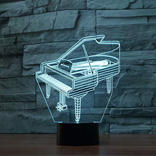 Nachtlicht 3D Illusion Lampe LED Tischlampe LED 3D Optische Täuschung Smart 7 Farben USB Power Nachtlicht, für Wohnzimmer Schlafzimmer Wohnkultur (Piano) Geburtstag Geschenke Spielzeug
