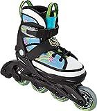 Crivit Sports Kinder Inliner Inline-Skates Softboot (schwarz weiß hellblau Blumen Gr. 29-33)