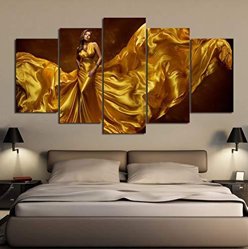 Rjbzd Art Print Modular Framework Painting Poster Hd 5 Piezas/Pcs Sexy Golden Dress Mujer Lienzo Imagen De La Pared Para La Decoración Del Hogar Habitación Para Niños