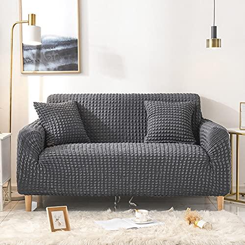 Funda de sofá elástica de Color sólido para Sala de Estar Fundas seccionales elásticas de Cuadros Escoceses Funda de sofá en Forma de L 1-4 plazas, Gris Oscuro, 2 plazas 145,185cm