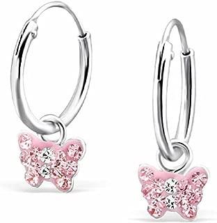 SL-Silver Set de kinderohr Anneaux cr/éoles Licorne et Papillons Argent 925/en bo/îte Cadeau