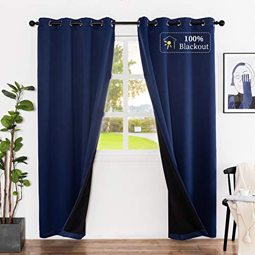 Lofus Thermal Insulated 100% Blackout Curtains for Bedroom with Black Liner, 3 Thick Layers Full Room Darkening Noise Reducing Grommet Curtain (Royal Blue, 52x63 Inch, 2 Panels)