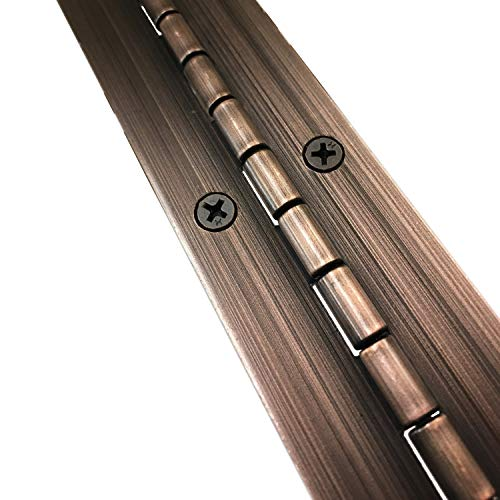 1-1/2' x 24' Continuous Piano Hinge - Heavy Duty .060' Leaf Thickness - Antique Bronze - Matching #6 x 3/4' Screws Included