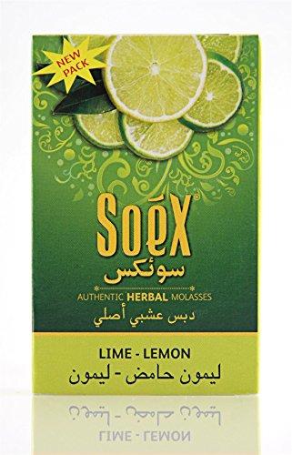 Soex Limette Zitrone pflanzliche Shisha Melasse ohne Nikotin Wasserpfeife 50 g