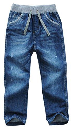 Toddler Youth Boy Washed Elastic Mid Waist Full Length Regular Pants Denim Jeans(B,8 Years)