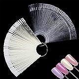 Ealicere 100pcs Espositore a Ventaglio per Unghie Nail Art Nail Color Display Set con Supporto Anello Diviso(Colore naturale&Trasparente)