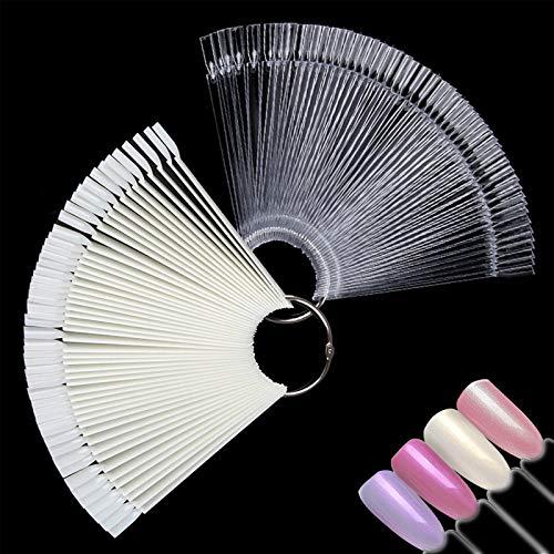 Ealicere 100 Stück False Nail Art Tips Sticks Nagel Salon Übungen Display Nail Tips(Transparent&Natural)