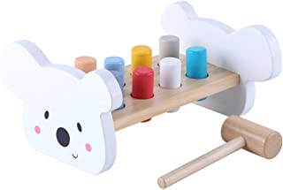 TOYANDONA Wooden Pounding Bench Classic Tool Toy with Hammer Shape Stacker Kids Wooden Building Set Musical Educational toy