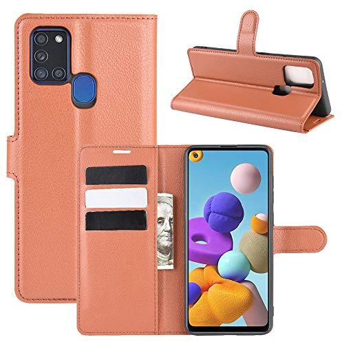 betterfon Samsung Galaxy A21s Hülle - Handyhülle Samsung A21s Schutzhülle Klapphülle mit Kartenfächer für Galaxy A21s PU-Leder Braun