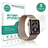 LeYi Anoke Pellicola per Apple Watch 38mm / 40mm [8 Pack] (Series 5 Series 4 Series 3/2/1),Wet Applied TPU Protettiva Film [Bubble-Free-Riutilizzabile] HD Trasparente Screen Protector per iwatch 38mm