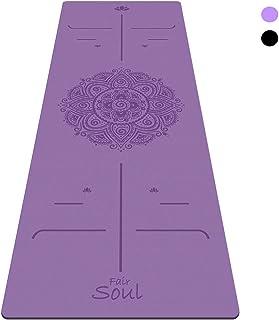 Fair Soul - Esterilla de Yoga en Caucho Natural con Sistema de Alineación y Gráficos 'Mandala'. Superficie Antideslizante. Agarre máximo. El mas grande 183cm X 68cm. espesor 5mm. Yoga-Bag Incluida.