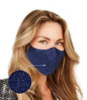 Washable Face Mask with Adjustable Ear Loops & Nose Wire - 3 Layers, 100% Cotton Inner Layer - Cloth Reusable Face Protection with Filter Pocket - Made in USA - Sparkle Navy from