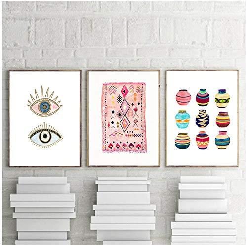 Generieke Marokkaans tapijt kunst schilderij boho wandafbeeldingen oog tribal geweven mand aquarel canvas kunstdruk Home Bohemen Poster wand Decor-50x70cmx3pcs-No Frame