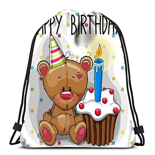 Lsjuee Rucksack Kordelzug Tasche Cute Teddy Bear mit Kuchen