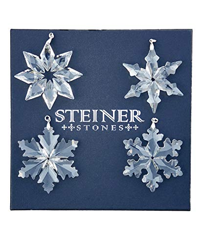 Steiner Stones Christmas Ornaments Set of 4 Unique Designs of Crystal Glass Snowflake Ornaments, 3 Inches Clear with Jewelry Box Includes White Hanging Satin Ribbons