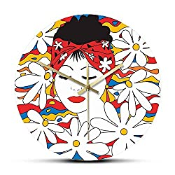 Wall Clock Beauty Tropical Woman with Flowers Non Ticking Acrylic Printed Wall Hanging Watch Modern Fashion Glamour Female Wall Art Clock Decorative for Kitchen Living Room Bedroom Office