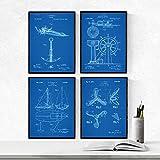 Nacnic Azul - Pack de 4 Láminas con Patentes de Barcos. Set de Posters con inventos y Patentes Antiguas. Elije el Color Que Más te guste. Impreso en Papel de 250 Gramos de Alta Calidad