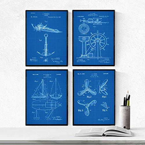 BLAUW - pak van 4 vellen met patentboten. Maak posters met uitvindingen en oude patenten. Kies de gewenste kleur. Gedrukt op hoge kwaliteit 250 gram. Nacnic