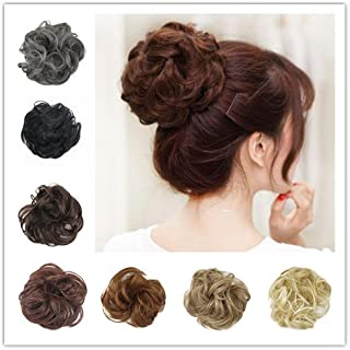 BARSDAR Synthetic Hair Bun Extensions Hairpiece Messy Hair Scrunchies for Women Updo ponytail Extensions - A10 Medium Brown & Light Auburn