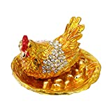 BESPORTBLE Chicken Trinket Box Hen Hatching Eggs Trinket Jewelry Box Chicken Coop Ring Holder Animal Figurine Home Decoration Figurine Ornament Gift Gold
