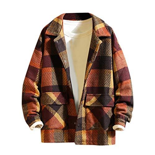 MAYOGO Herren Fleecejacke Kariertes Holzfäller Jacke Buttons Down Strick Freizeitjacke Fleece Jacke Winterjacke mit Revers (Wein, 3XL)