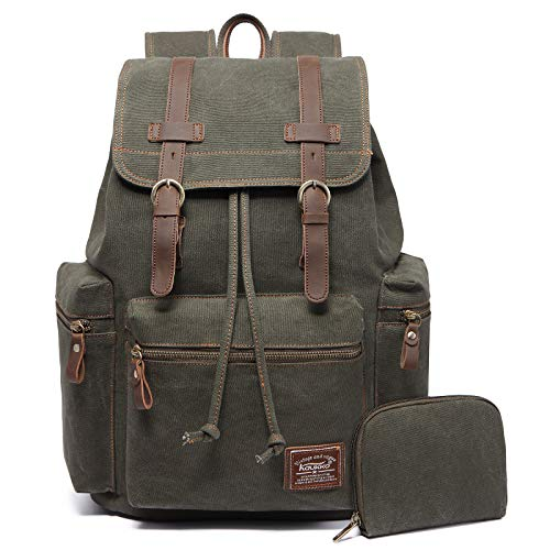 KAUKKO Vintage Casual Canvas and Leather Rucksack Backpack Canvas Green2pc