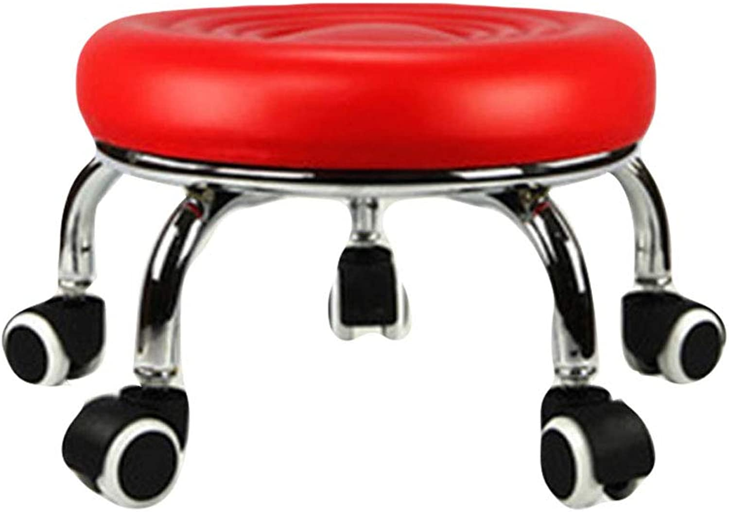 Pulley Stool Wheeled Chair Step Low Footstool redatable Beauty Chair Multi Purpose for Toddler Kids Adult Old Man for Living Room, Bedroom, Kitchen, Bathroom,Red,33(D)23(H) cm