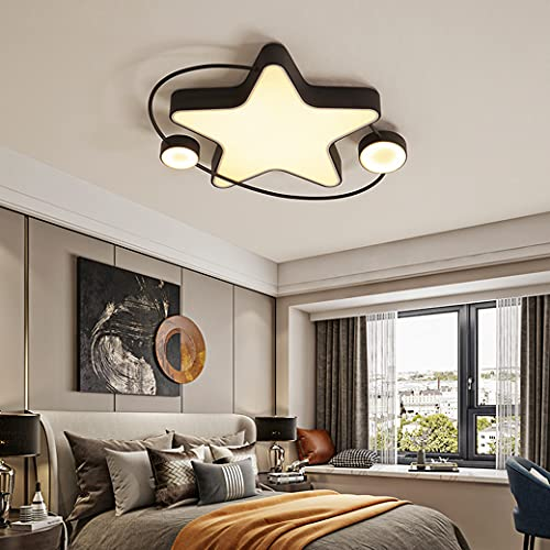 MZT Luz Decorativa de Estrella Creativa, atenuación Continua, luz de Techo LED, luz de Techo para niños, acrílico, Alta transmisión de luz,Negro