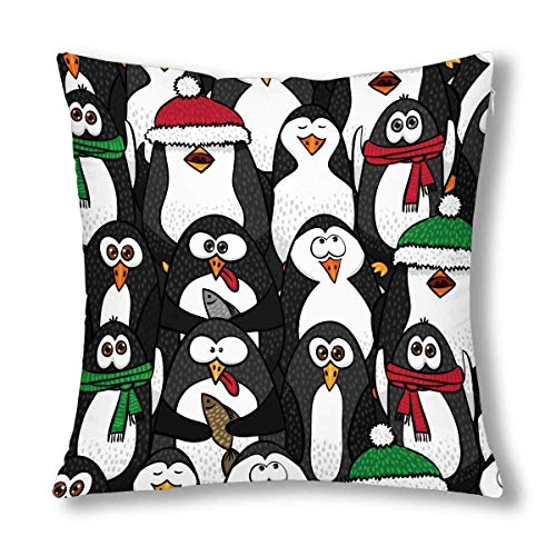 GOSMAO Funda de Almohada Decorativa de Animales de pingüinos Negros de Dibujos Animados Divertidos, Funda de Almohada Decorativa de 18x18 Pulgadas
