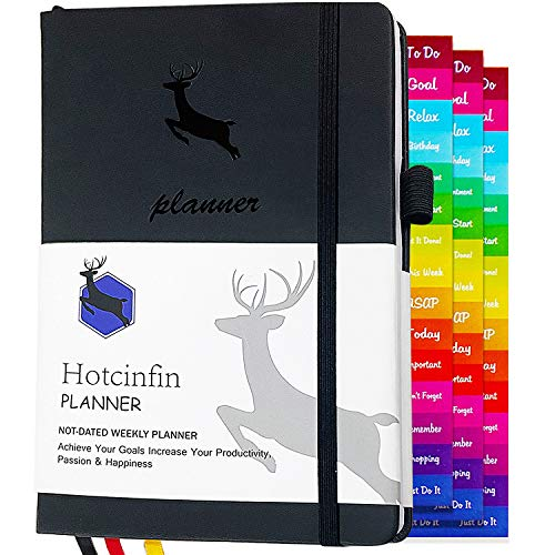 Hotcinfin 2021-2022 Planner-Weekly & Monthly Commit 30 Calendar Productivity Planner, Undated Daily A5 Planner, Start Any Time, Time Management,Organizer Goals Leather Journal for Men, Women- Black