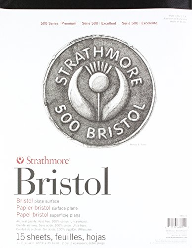 Strathmore (580-72 500 Series Bristol, 2-Ply Plate Surface, 11'x14', 15 Sheets
