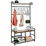 HOMEKOKO Industrial Coat Rack Shoe Bench, Large Hall Tree Entryway Storage Bench with Grid, Large Size, Wood Look Accent Furniture with Metal Frame