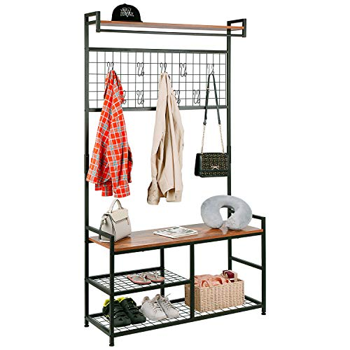 HOMEKOKO Industrial Coat Rack Shoe Bench Large Hall Tree Entryway Storage Bench with Grid Large Size Wood Look Accent Furniture with Metal Frame