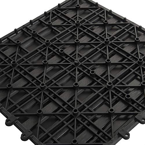 EUGAD WPC Premium Terrassenfliesen Bodenfliese Klickfliese Holzoptik, Terrassendielen Fliese Bodenbelag mit klicksystem, 22 Stück 30x30 cm = je 2 m² Anthrazit - 4